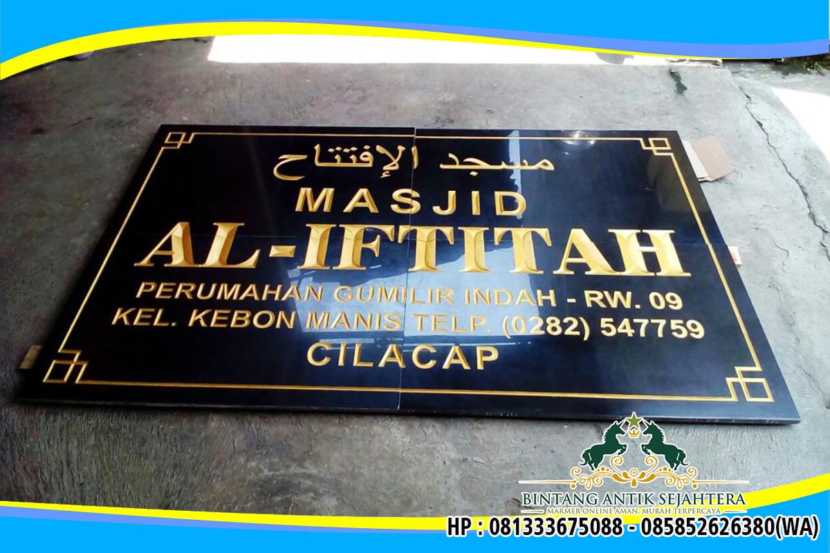 Papan Nama Masjid Bahan Batu Granit