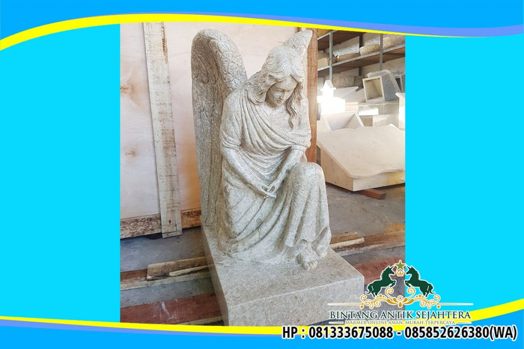 Patung Malaikat Bersayap Bahan Marmer